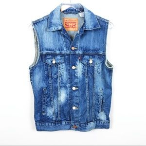 LEVI | Denim Sleeveless Distressed Vest